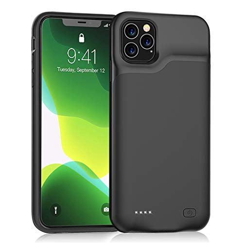 iPhone 11 Pro Max Battery Case, Euhan 6500mAh Ultra Thin Rechargeable Portable Power Charging Case For iPhone 11 Pro Max 6.5 inch Extended Battery Pack Power Bank Charger Case Black