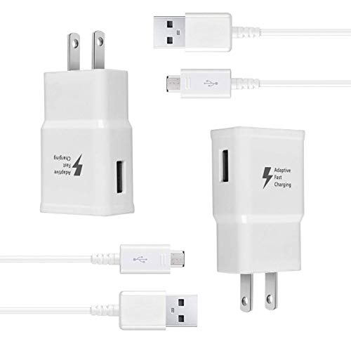 Wall Charger Kit Adaptive Fast Charge Compatible Samsung Galaxy S7 / S7 Edge / S6 / S6 Plus / Note5/4 /S4/S3, USB 2.0 Fast Wall Charger Adapter and Micro USB Cable 2 Adapter + 2 Cable