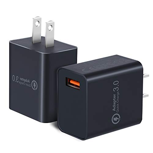 Quick Charge 3.0 Wall Charger, OKRAY 2 Pack 18W Fast Charging USB Wall Charger Power Adapter USB Plug Compatible 10W Wireless Charger, iPad Pro, Tablets, iPhone, Samsung Galaxy, LG, HTC Black Black